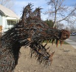 Barb Wire Dog Head